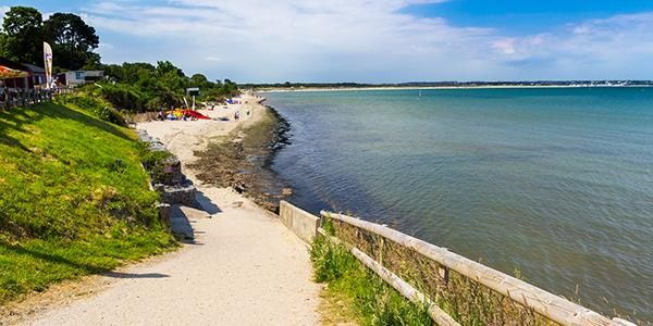 A view toward the horizon along Studland beach's coastal path
