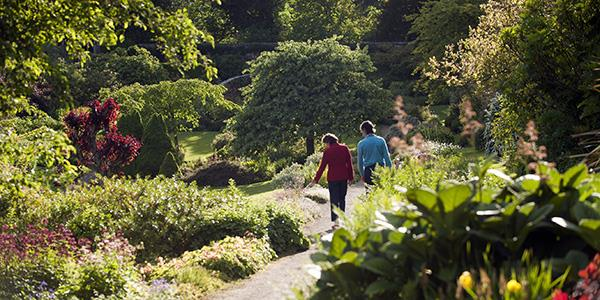 A couple walking through the gardens of Wallington estate