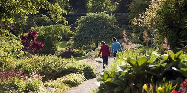 A couple walking through the gardens of Wallington estate